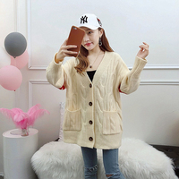 2019 Fashion Long Korean Version of The Fat MM Spring Cardigan Pocket Loose Large Size Knitted Sweater Comfortable