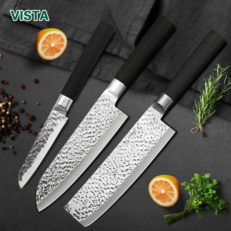 Juego de cuchillos de cocina estilo japonés cuchillo de cocina cuchillo para cortar fruta cuchillo de acero inoxidable