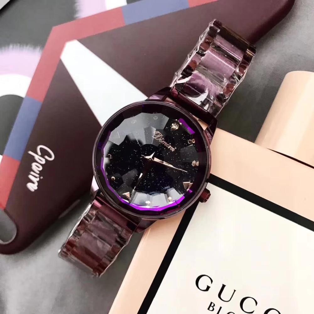 Marca de Relógios de Aço Cheio de Moda Esferas de Vidro de Cristal Relógio de Pulso de Quartzo Perfeito Rodada Mulheres Noble Roxo Bracelet Ver Multi Facetada