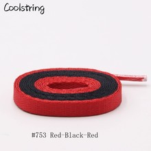 Coolstring Trend Personality 7mm 2 Tone Flat Black Blue Red Shoelaces 67 Sports Shoes Laces Accessories For High-tops Trainers