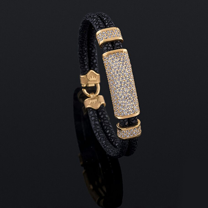Beichong Black Stingray Leather With Rose Glod Clasp 316L Stainless Steel Leather Bracelet Bangle with White zircon stone