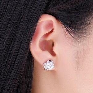 Image 4 - Ювелирные изделия, серьги гвоздики с сердечками, CZ, 925 пробы, серебряные серьги для женщин, девочек, корейские серьги, модные ювелирные изделия 2020