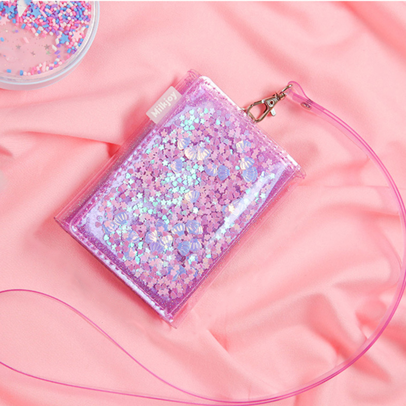 Summer PVC Wallet For Women Glitter Sequins Bank Credit Holder Jelly Mini Purse Folding Coin Purse Neck Hanging Bag