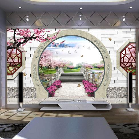 Free Shipping 3D Spatial expansion Chinese garden wallpaper TV living room sofa study backdrop bedroom walpaper mural  free shipping chinese ink classical retro wallpaper mural living room tv room wallpaper