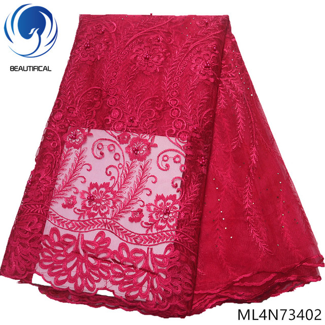 BEAUTIFICAL Red african lace fabrics for wedding dresses 2019 Latest style red embroidery tulle lace fabric 5yards/lot ML4N734