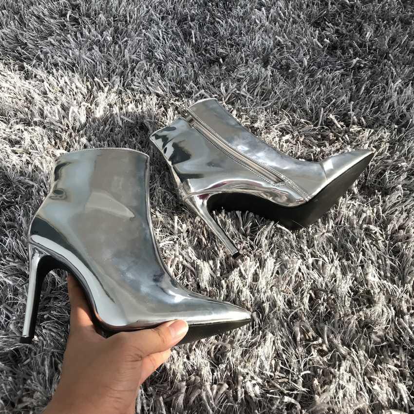 2019 große größe 35-42 stiefeletten für frauen spitz herbst winter high heels schuhe gold silber mode stiefel schuhe weibliche