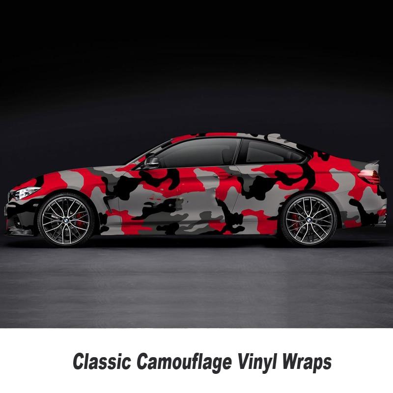 Rouge Camouflage Vinyle Wrap Camouflage Camo Feuille Autocollant De Voiture Corps Couvre Emballage Taille: 1.52*5/10/15/20/25/30 mètres