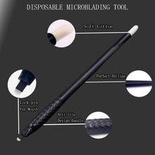 חד פעמי microblading עטים איפור קבוע קעקוע גבות קעקוע עט עם 7/12/14/17/18U סיכות מחטי רקמת להבי 10 יחידות