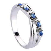 Light Blue Cross Ring Fashion White & Black Rhinestone Jewelry Vintage Wedding Rings For Women Birthday Stone Gifts(China)