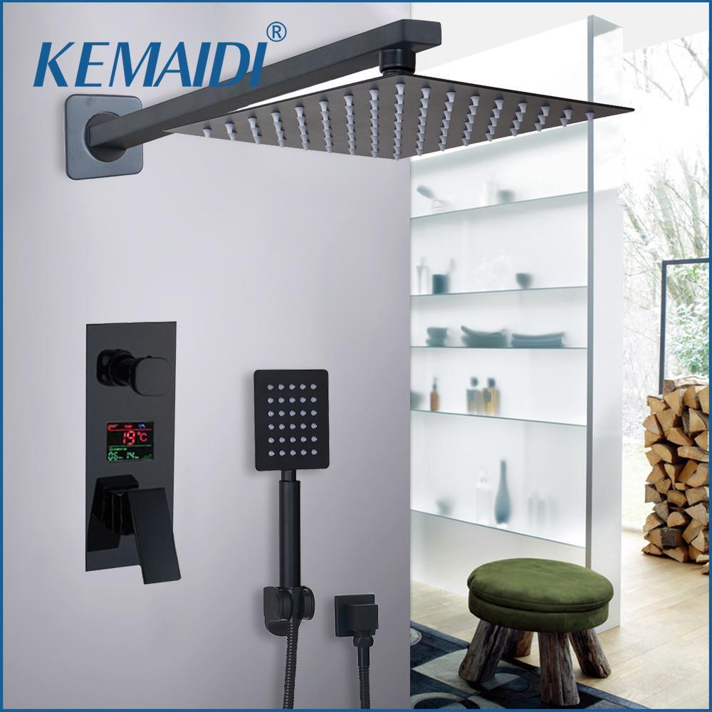 купить KEMAIDI Bathroom Shower 2-Functions Black Digital Shower Faucets Set Rainfall Shower Head 2-way Digital Display Mixer Tap по цене 6914.19 рублей