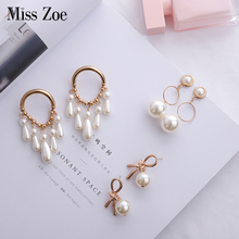 Gold Alien-Pearl Bow Earrings Exaggerated Drop Hanging for Women Brincos Fashion Party Jewelry Gift Girl Friend
