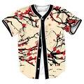 Мужские рубашки цветы Джерси overshirt Уличной Хип-Хоп с Однобортный летние тройники бейсбол рубашки 3d печати топ тис