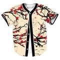Camisas dos homens flores Camisa overshirt tees Streetwear Hip Hop com Único Breasted verão baseball camisa 3d impressão top tees