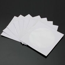 100Pcs/lot White CD DVD Disc Paper Case Sleeves Wallets Clear Plastic Transparent Window With Flap 12.7×12.7 cm