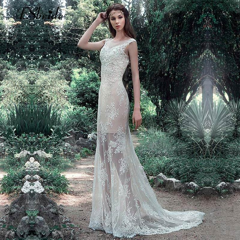 Discount Long Sleeve Lace Wedding Dresses 2017 New Simple: Simple And Cheap Beach Wedding Dress Long 2017 Vestidos De