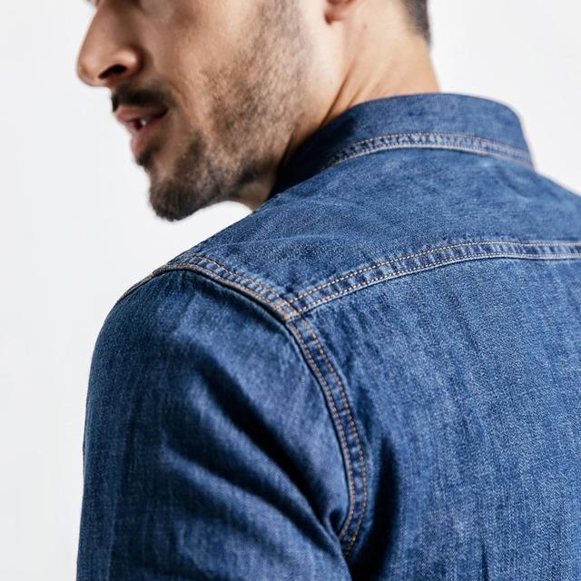 Men's Denim Shirts 100% Cotton Long Sleeve Casual