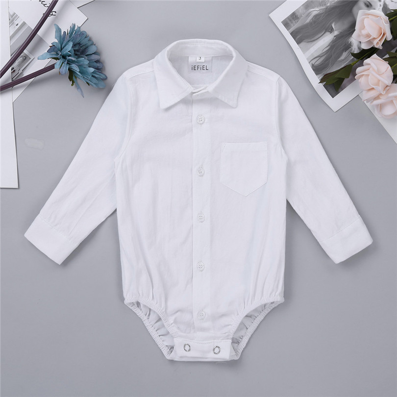49f925d7 White Newborn Baby Rompers Jumpsuit Gentleman Boy Toddler Shirt Rompers  Long Sleeves Formal Baby Boy Romper Shirt Baby Clothes-in Rompers from  Mother & Kids ...