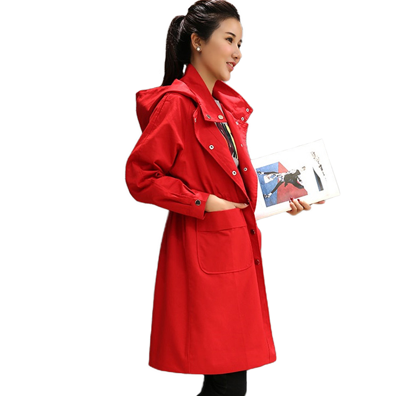 New Fashion Red Hooded   Trench   Coat Women 2019 Spring Autumn Plus size Cotton Windbreaker Female Belt Slim Large size   Trench   H810