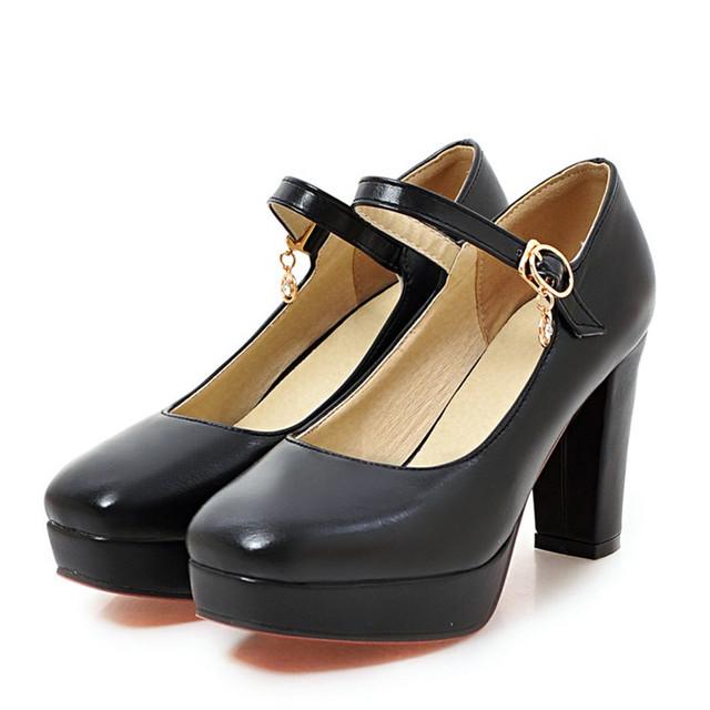 Saltos pretos Sapatos Mulher Do Dedo Do Pé Quadrado de Salto Alto Sapatos de Plataforma Saltos Fivela De Couro Rosa nu Bombas Mulheres Saltos Das Senhoras Do Escritório sapatos