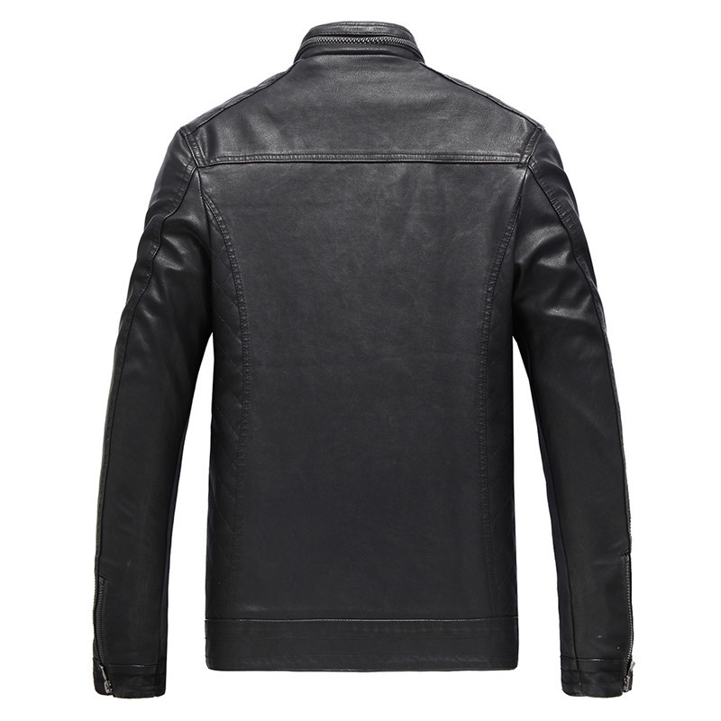 Riinr 2018 Brand New Arrival Mens Faux Leather Jackets High Quality Pu Leather Black Brown Spring Autumn Men Leather Jaket Coat