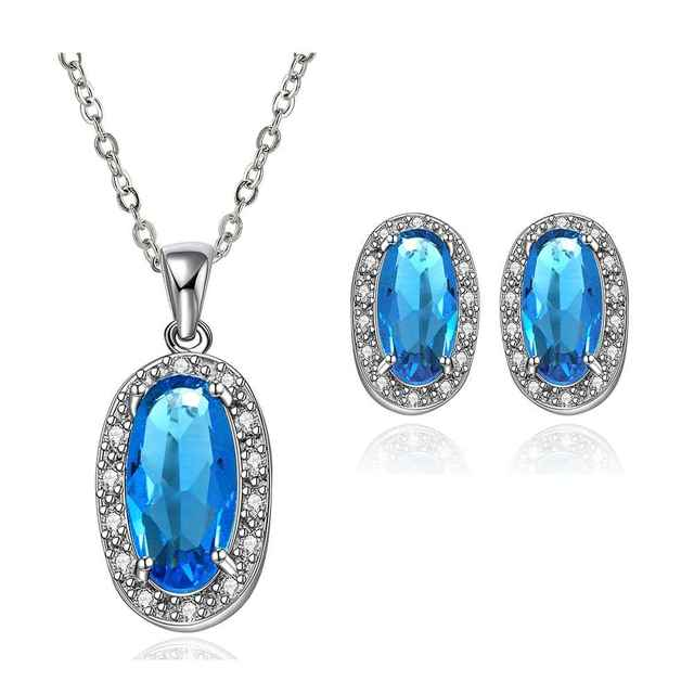 Best Friends GoldenPlated african jewelry set Blue stone jewelry meet you that day N+E Jewellry sets couponFBLS042