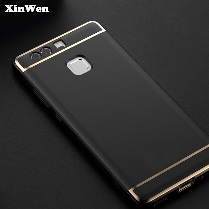 XinWen luxury Shockproof plastic black phone coque Cover Case For huawei p9 plus p9plus Protection Mobile accessories 3 in 1