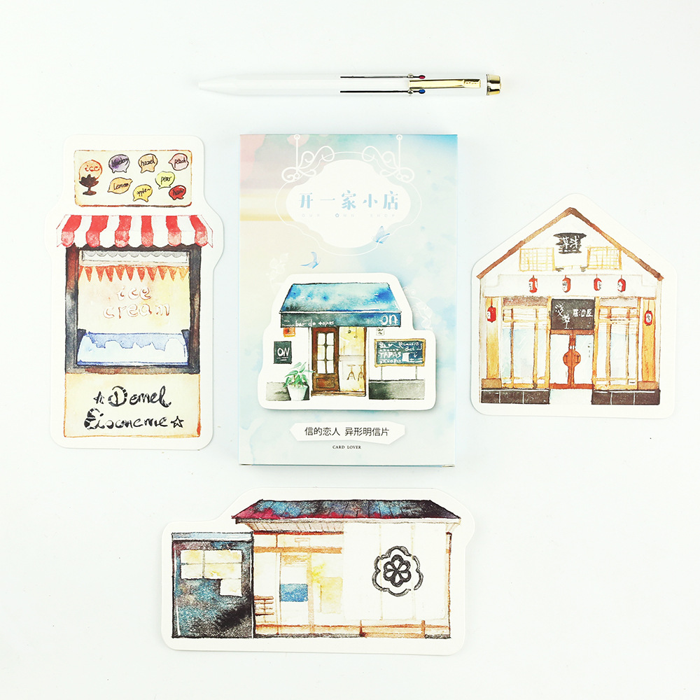 30pcs/lot Shops Series Shaped Postcards DIY Kawaii Cartoon Greeting Card Gifts Cards Bookmark Office and School Supplies