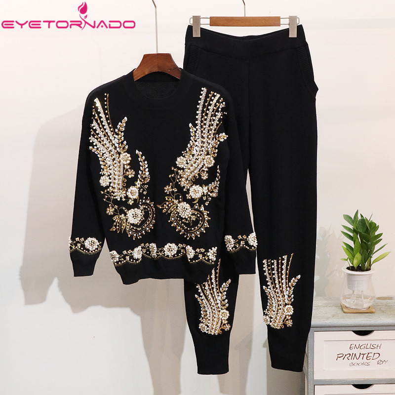 Women 2 Pieces Set Tracksuit Flowers Sequined Pearls Knitted Jumper Top and Trouser Pant Set Winter