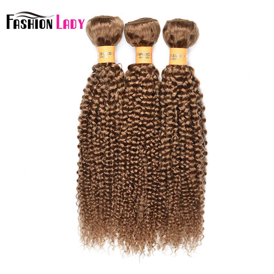 Fashion Lady Pre-colored Blonde Brazilian Hair bundles Color 27 Human Hair Extensions Blonde Curly Hair 3 Bundles Non-remy