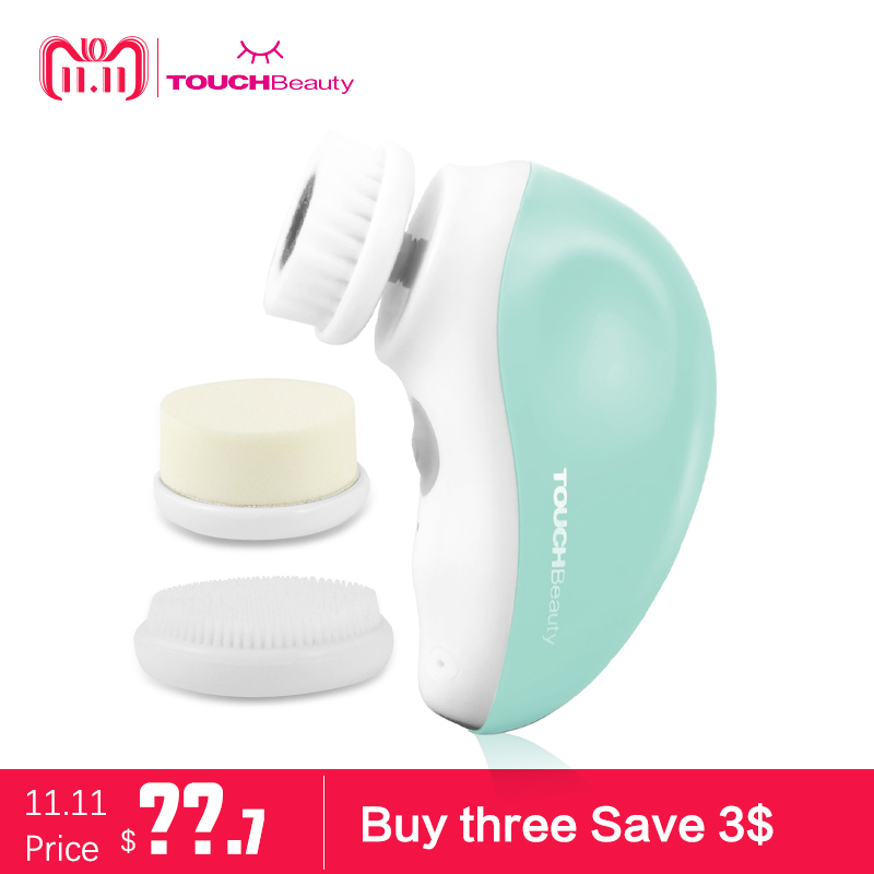 TOUCHBeauty 3 in 1 rotary electric facial cleansing brush,USB rechargeable face brush travel kit TB-1387 touchbeauty smart rechargeable dual head optical facial cleansing brush with inbuilt sensor and timer tb 1582