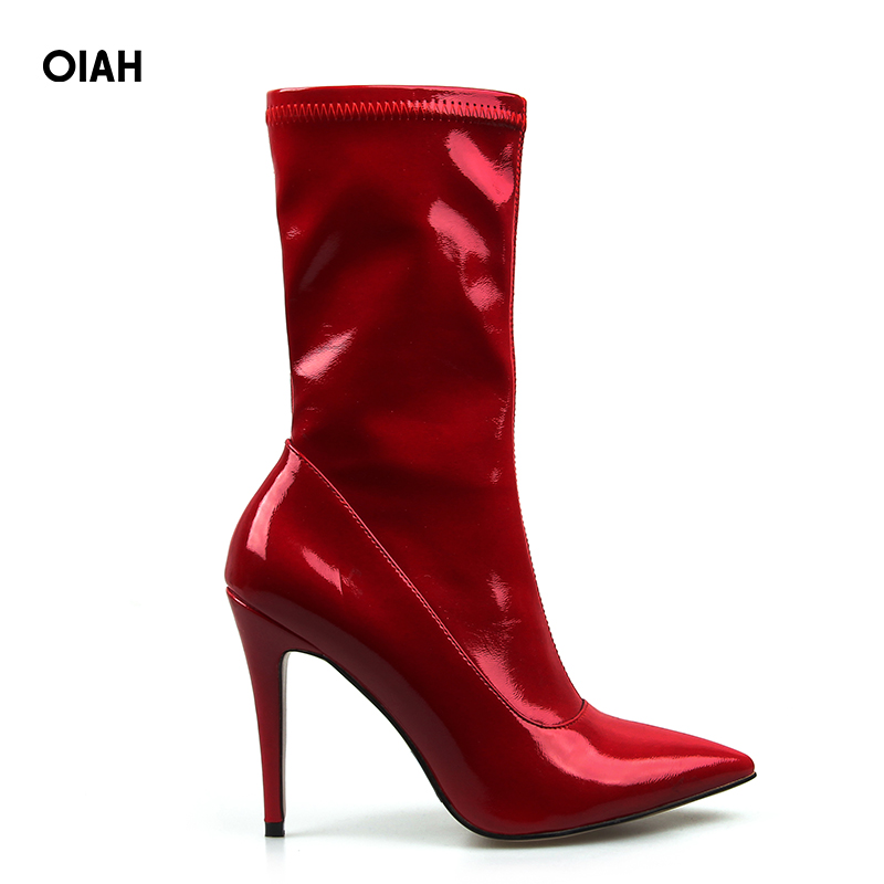 Patent Leather Red Ankle Boots for Women Thin Heel Pointed Toe Solid 10 CM High Heel Boots Shoes Spring Autumn Fashion Boot цена