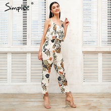 Simplee Sexy strap floral print women jumpsuit Loose ruffle boho jumpsuit romper Casual beach summer jumpsuit 2018