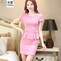 Women O-neck Outfits Short Sleeve Pink Dress Fashion Casual Cute Summer Work Wear Business career Above Knee
