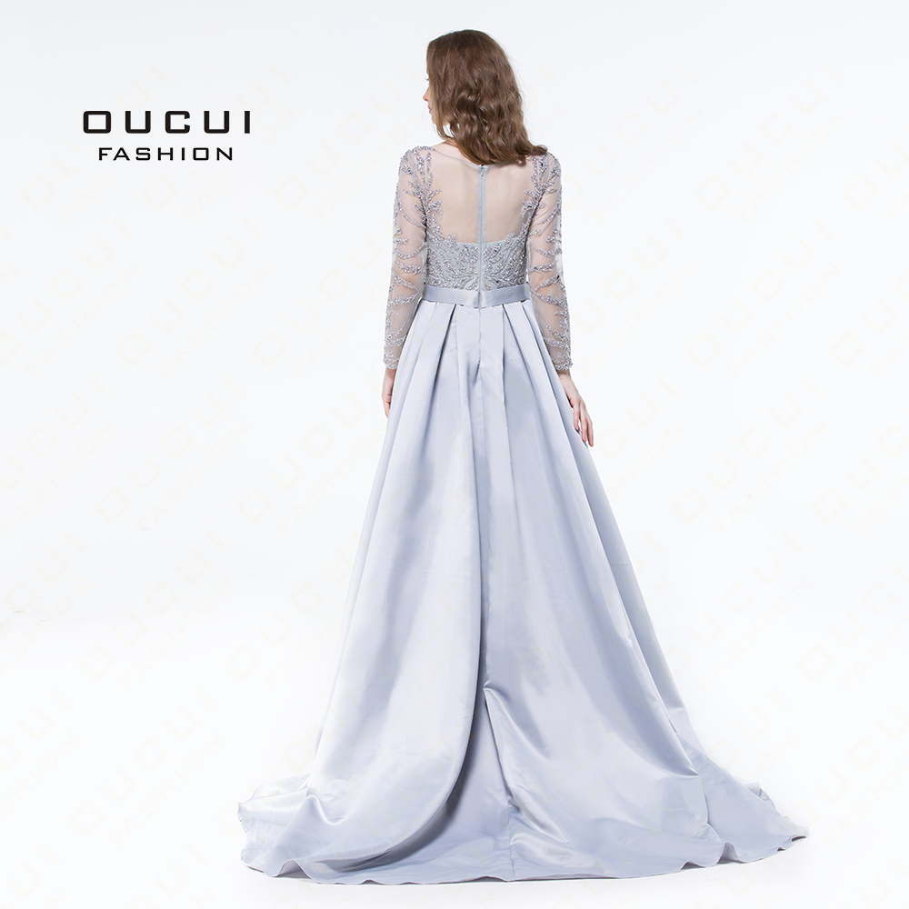Long Sleeves Muslim Mermaid Evening Dress 2019 Luxury Formal Handmade Crystal Ball Gown Prom Dresses Full Beaded OL103025 in Evening Dresses from Weddings Events
