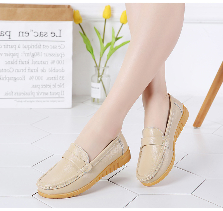AH 2020-2019 Spring Autumn Women Loafers Genuine Leather Woman's Flats-14