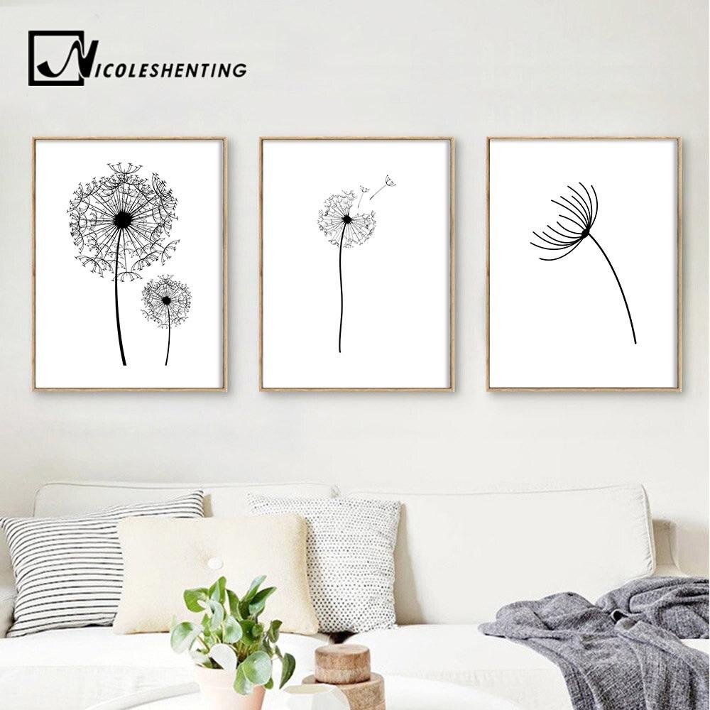 Dandelion Wall Art Dandelion Decor Black White Bedroom: Dandelion Flower Landscape Wall Art Canvas Poster Black