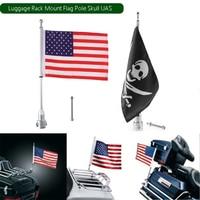 1pcs Universal Motorcycle Bikecycle Luggage Mount Holder 15inch Pole Skull USA Flag Luggage Bracket For Harley
