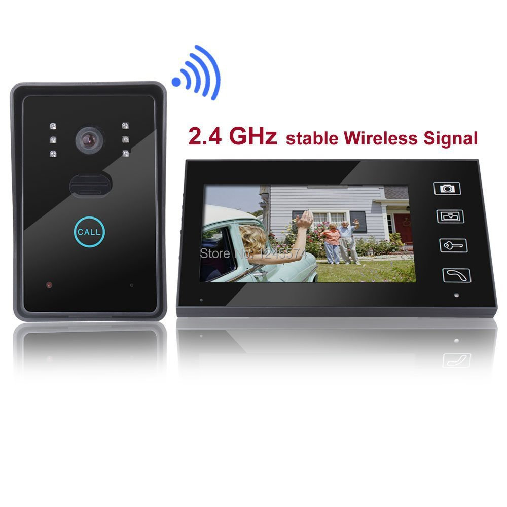 Free Shipping! Home Security 2.4G Wireless Video Door Phone Intercom Doorbell Camera With 7