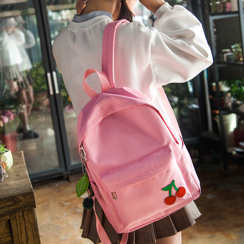 2018 Новый Для женщин холст рюкзаки милый розовый плоды черемухи шаблон печати женский Back Pack девушки Колледж ноутбук сумки книга сумки