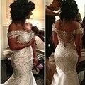 Кристалл Свадебное Платье 2017 Vestidos Де Noivas Casamento Русалка Длинные Роскошные Свадебные Платья Бисером Арабский Свадебное Платье