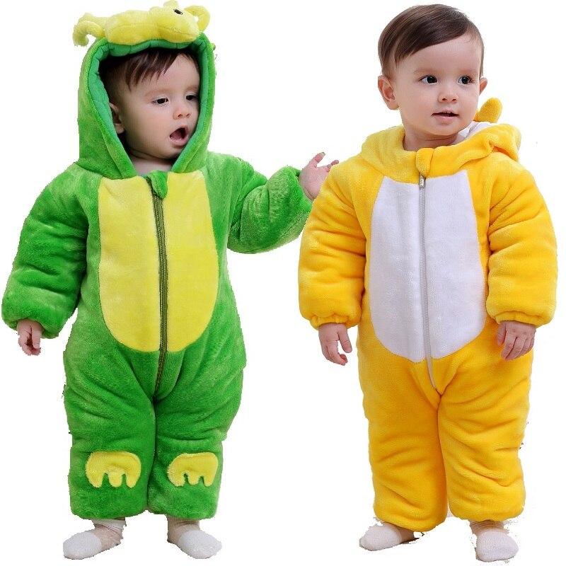 все цены на Cartoon Baby Boy Winter Fleece Clothes Dragon Costumes For Baby Romper Newborn Overall Infant Hoodies Jacket Jumpsuit Chick Coat