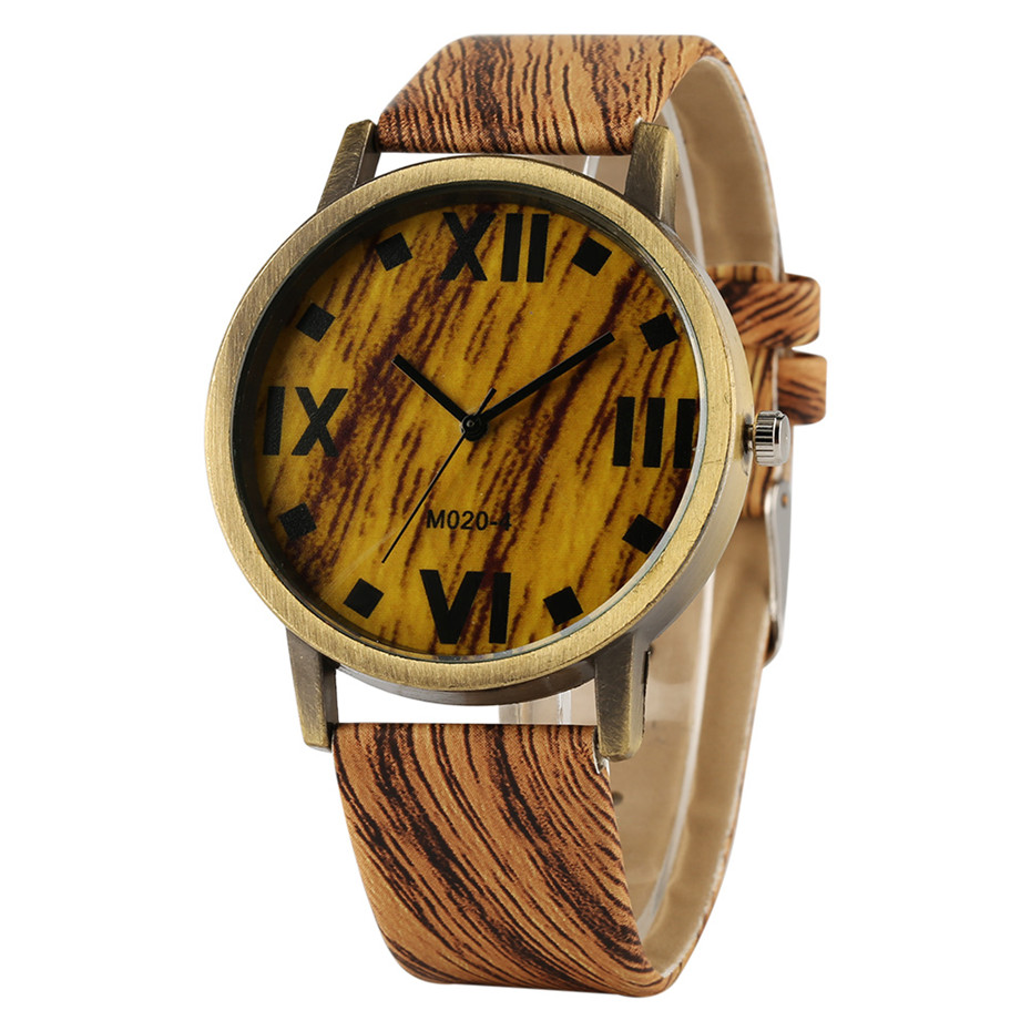 Brone Case Wood Grain Leather Band Man Watch Creative Design Wrist Watches Men Quartz Casual Wooden Color Clock Male Gifts 2018 ttlife men fashion black sandal bamboo wood watch creative 12 holes real leather band business watch casual quartz clock wd204