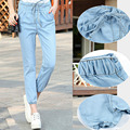 Women Jeans 2016 New Casual Light Blue Drawstring Calf-Length Denim Jeans Loose Pants Summer Capris