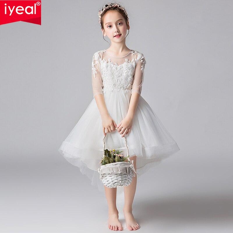 IYEAL nouvelle mode fleur filles dentelle Tulle trompette première Communion robes enfants fille dentelle demi manches robe de mariée