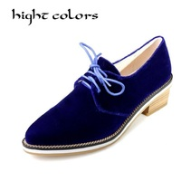 Black Green Blue Womens Retro British Oxford Shoes Lace Up Suede Casual Comfort Low Heel Pumps
