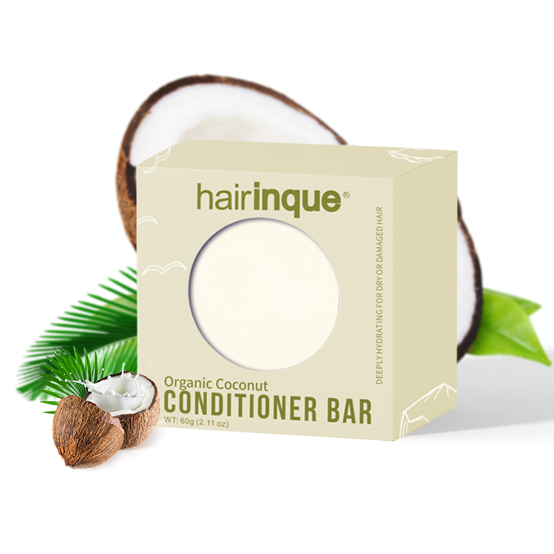 11.11HAIRINQUE Organic Handmade Coconut Conditioner Bar Solid Hair Conditioner Soap Deeply Hydrating For Dry & Damaged Hair Care