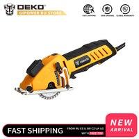 Deko qd6905lr mini serra circular com laser  4 lâminas  passagem de poeira  chave allen  alça auxiliar  bmc caixa 0 tools 28.5mm ferramentas elétricas