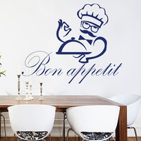Restaurant Chef Wall Decal Quotes Bon Appetit Tray Pattern Wall Stickers Vinyl Kitchen Cafe Shop Windows