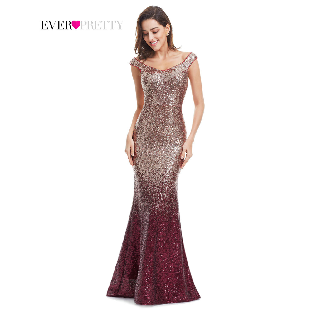 Evening Dress Long Sparkle Ever Pretty 2019 New V-Neck Women Elegant EP08999 Sequin Mermaid Maxi Gold Evening Party Gown Dress