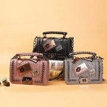 Для женщин Цепи Курьерские сумки Новинка 2017 года Винтаж сумка женская известный бренд Crossbody сумка для Для женщин заклепки небольшой Сумки на плечо